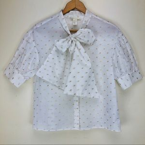 H&M White Blouse with Bow Tie Gold Embroidery Sz 6